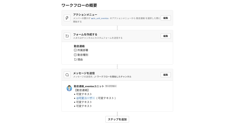 Slack Workflow Builder(ワークフロービルダー)で設定した勤怠連絡ワークフローの流れ