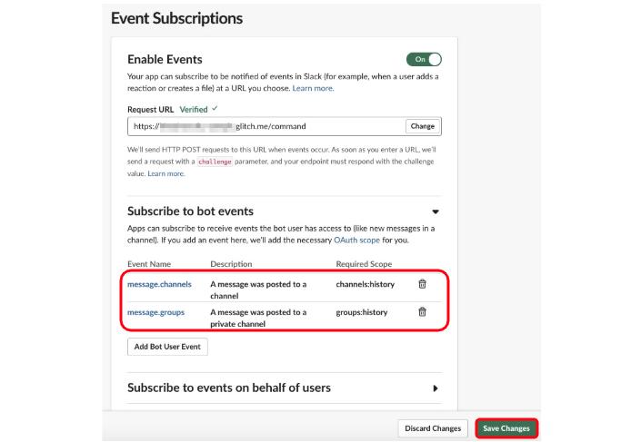 SlackのEvents APIでハンドリングするEventの種類をSubscribe to bot eventsで追加する